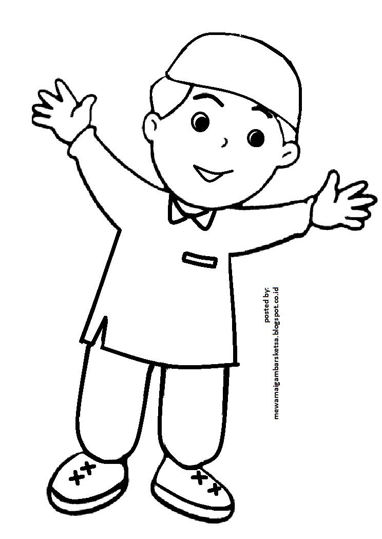 Mewarnai Gambar Gambar Kartun Anak Mengaji