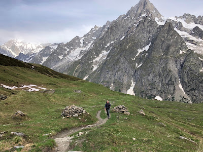 View of the trail for the two day hike. View from Valley of Malatrà back toward Mont Blanc range.