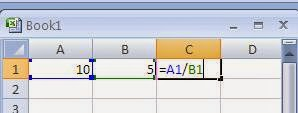 Use of division arithmetic operator in Excel