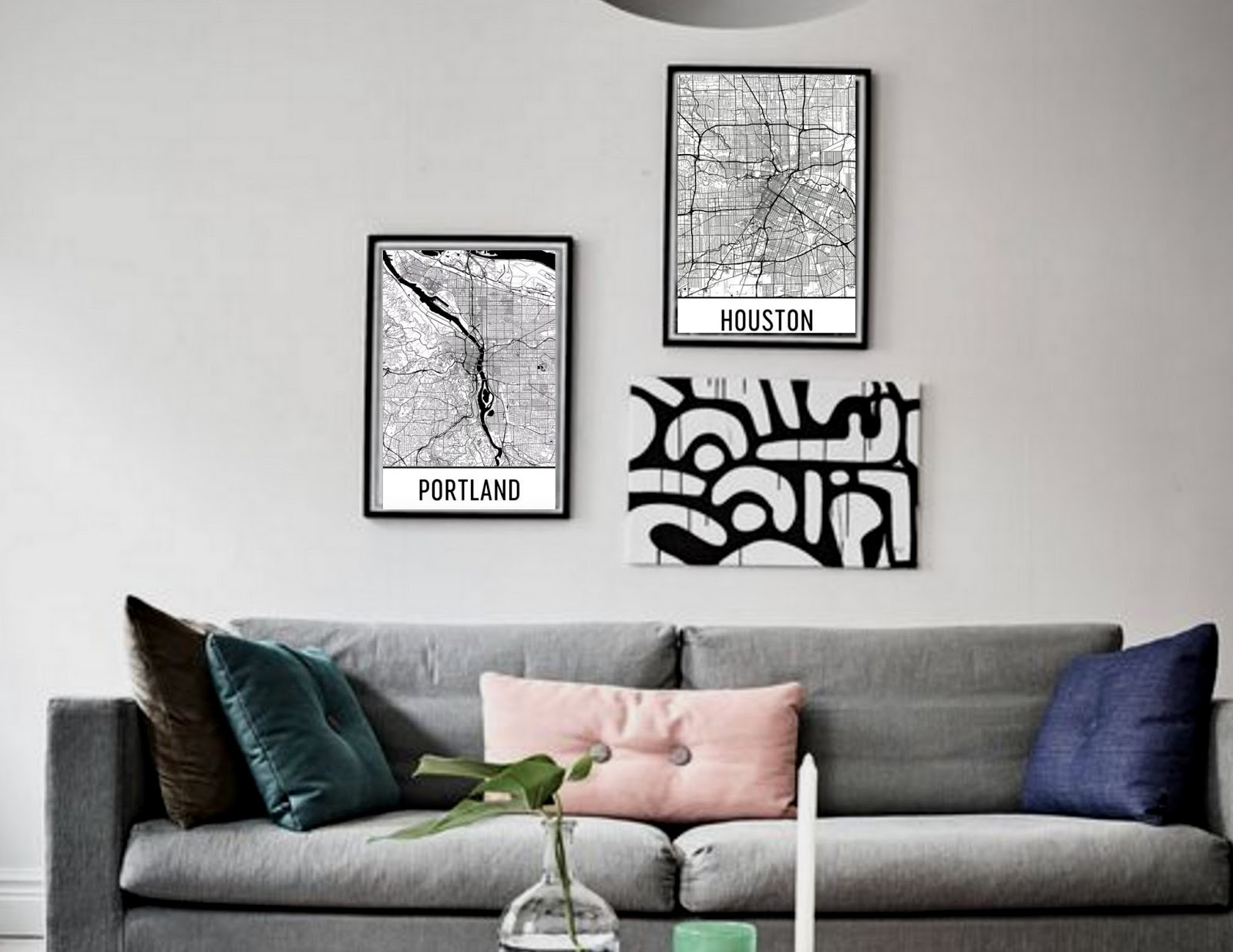 I Have A New Love For Leather Couches And House Plants These Map Art Posters Layer In So Well Cant Wait To Share My Space With You