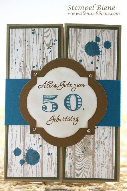 Geldgeschenkkarte zum 50. Geburtstag, Geldgeschenkkarte für einen Mann, Stampin' Up Gorgeous Grunge, Box-Card Mann, Stampin up Artikel bestellen, Scrapbookkarte Mann