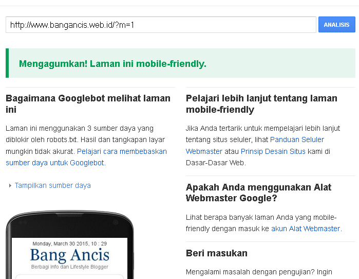 Alogaritma Google 2015 : Mobile Friendly