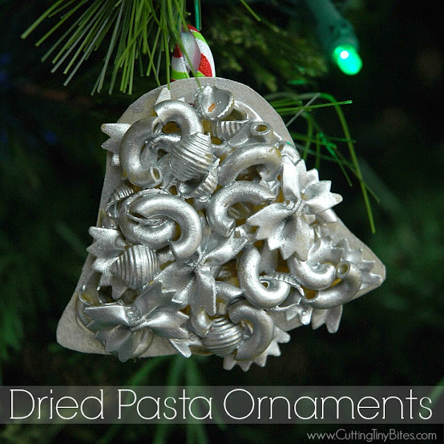 Dried Pasta Ornaments- EASY kid's craft for Christmas Great for toddlers, preschoolers, or older children. Works on fine motor skills!