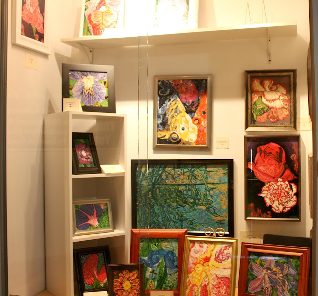 Flower paintings made by a local artist at the Bucktown Center for the Arts