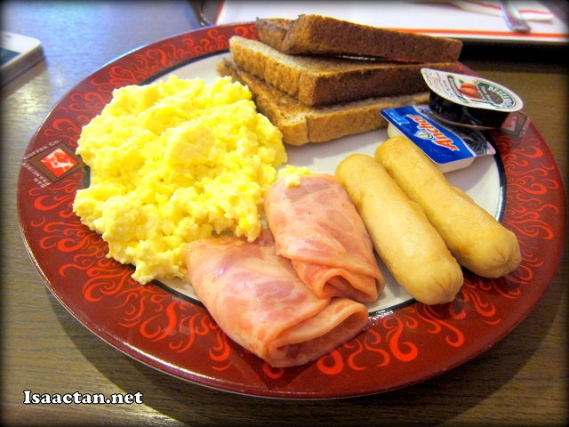 American Breakfast Set - RM13.50 inclusive of one mug of coffee/tea