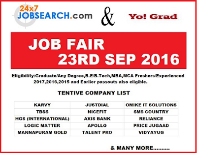Mega Job Fair For Freshers/ Experienced at Multiple Companies On 23 September 2016