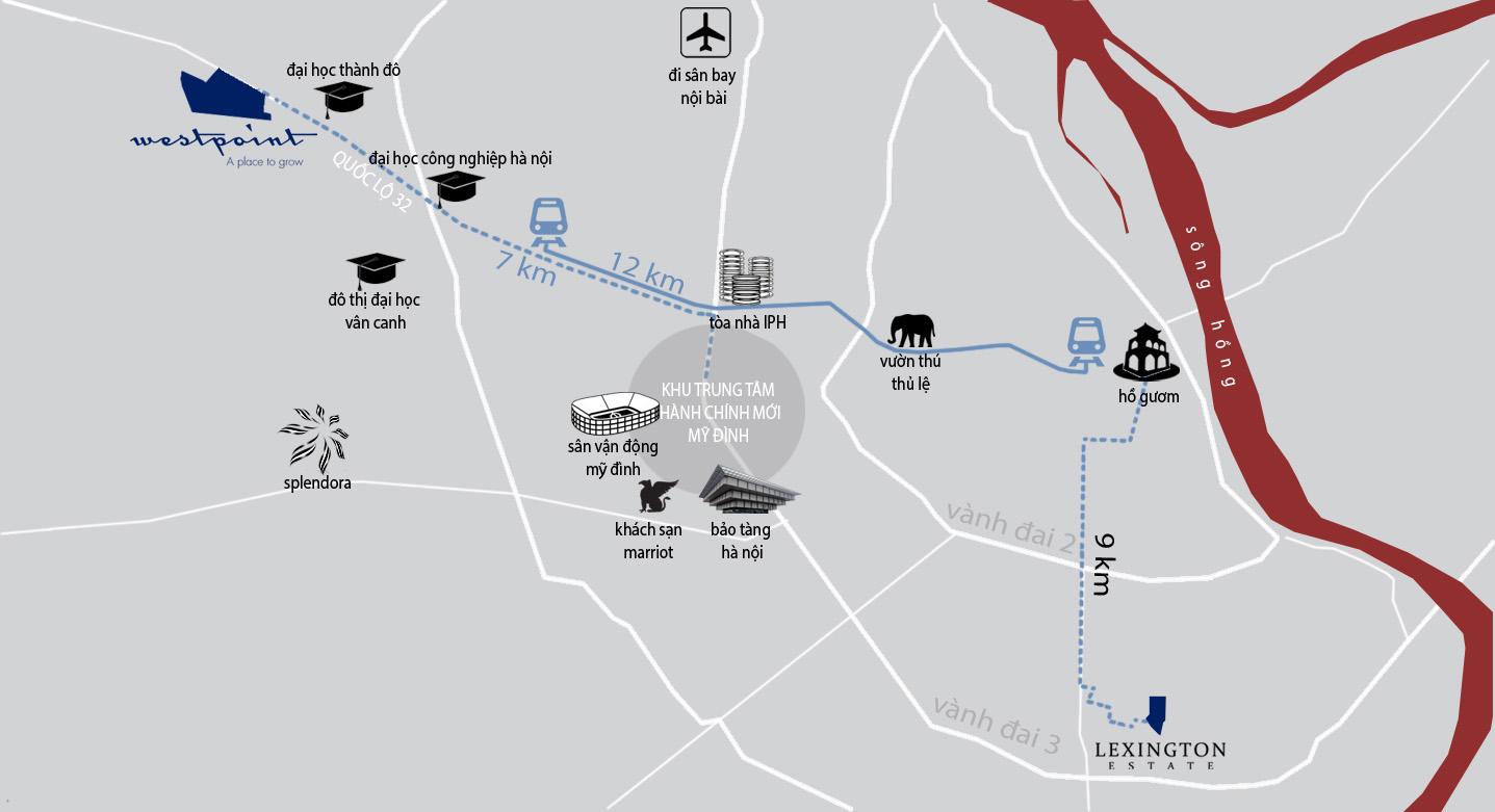 Vị trí dự án Khu đô thị Nam 32 West Point