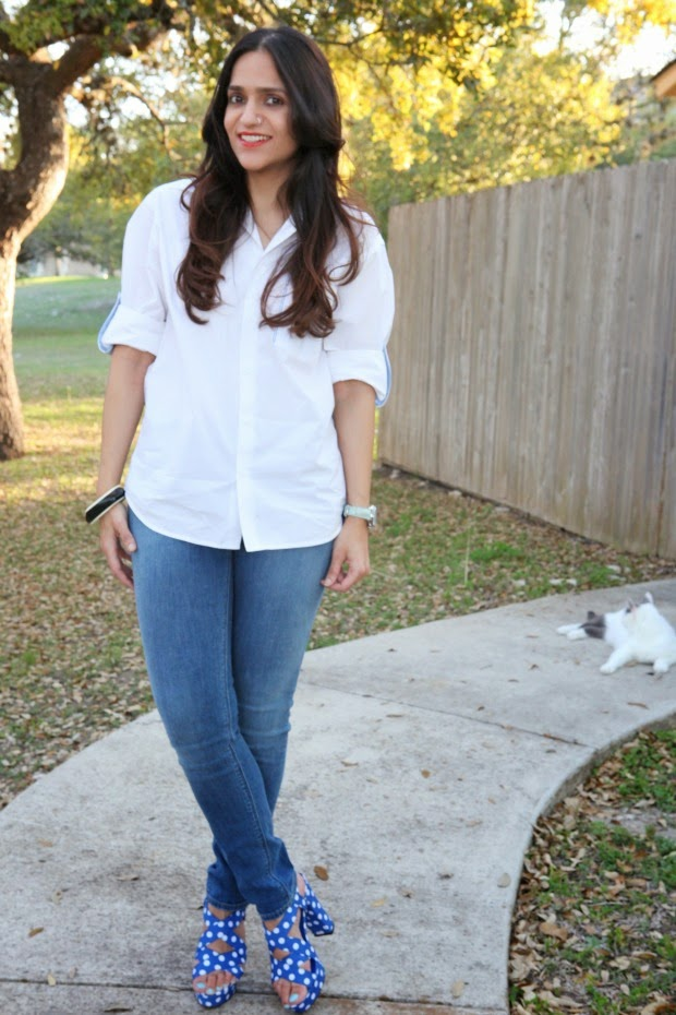 Button Down Shirt, Skinny Jeans, Polka Dot Heels, Tanvii.com