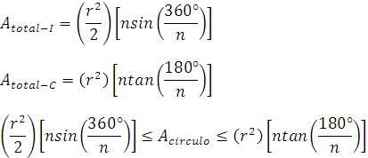 Demostración de la desigualdad para usar el teorema del emparedado para el área de un círculo