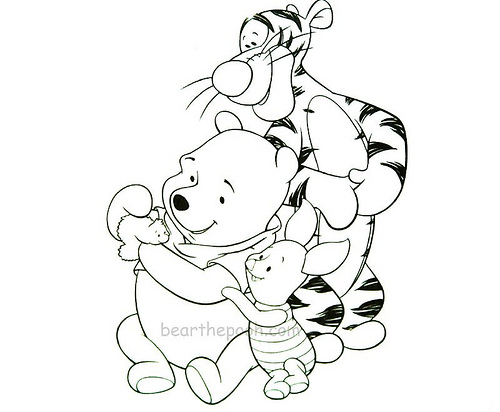 winnie the pooh and tigger coloring pages - baby winnie the pooh and tigger coloring pages