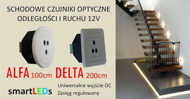 Schodowe optyczne czujniki odległości i ruchu smartLEDs do LED 12V regulacja zasięgu do 200m