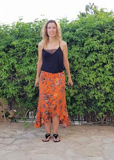 falda volantes de flores