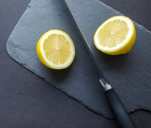 lemon with thick rind cut