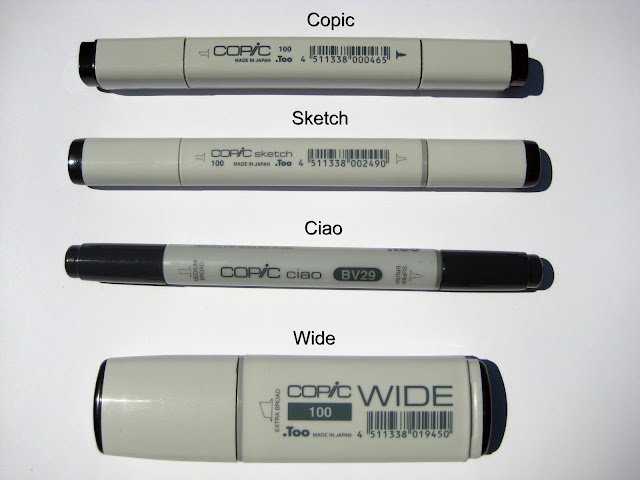 Copic Original, Copic Sketch, Copic Ciao, Copic Wide alcohol based art markers
