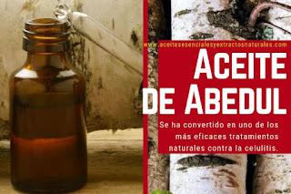 Aceite de abedul en listado de aceites esenciales y esencias para Aromaterapia