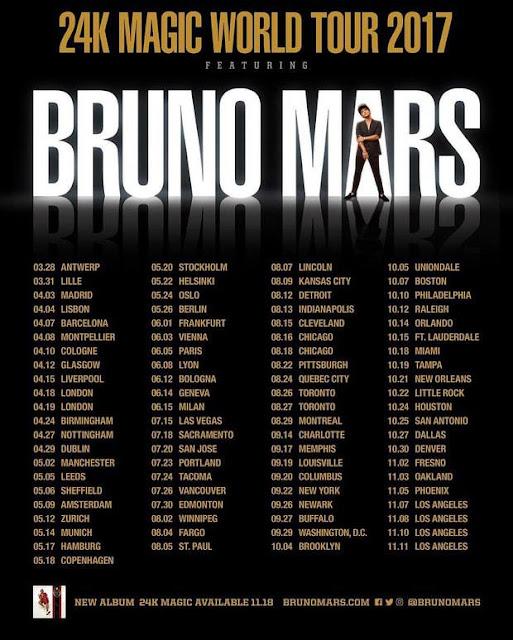 """Bruno Mars anuncia el """"24K Magic World Tour"""" para 2017"""