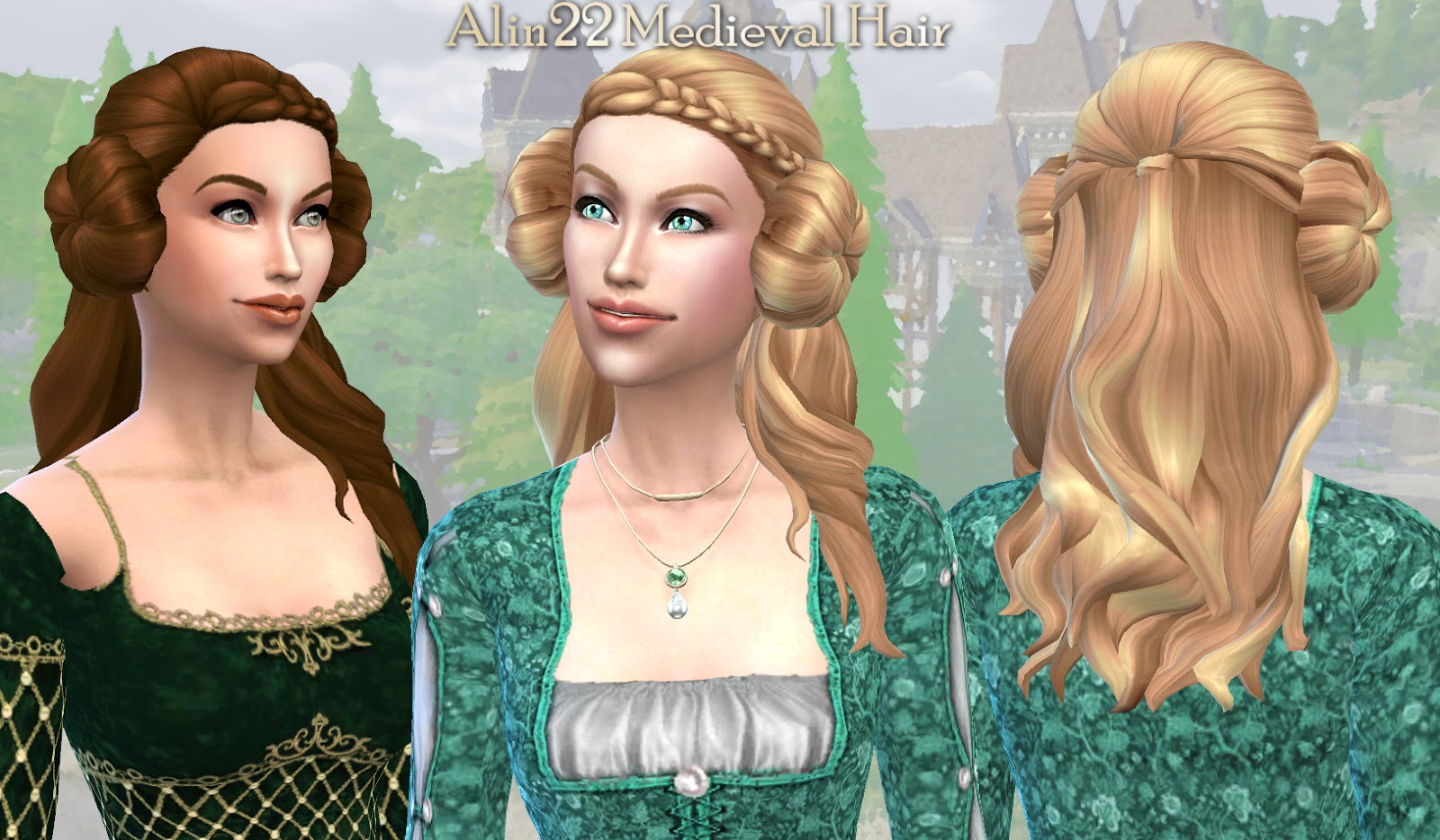 The sims 4 hair accessories - Medieval Long Hair With Buns Metallic Hairnets Accessory