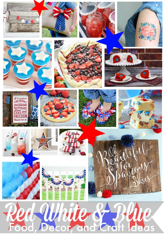 Red White Blue Blog Hop for patriotic recipes, crafts, decor and other Fourth of July ideas.