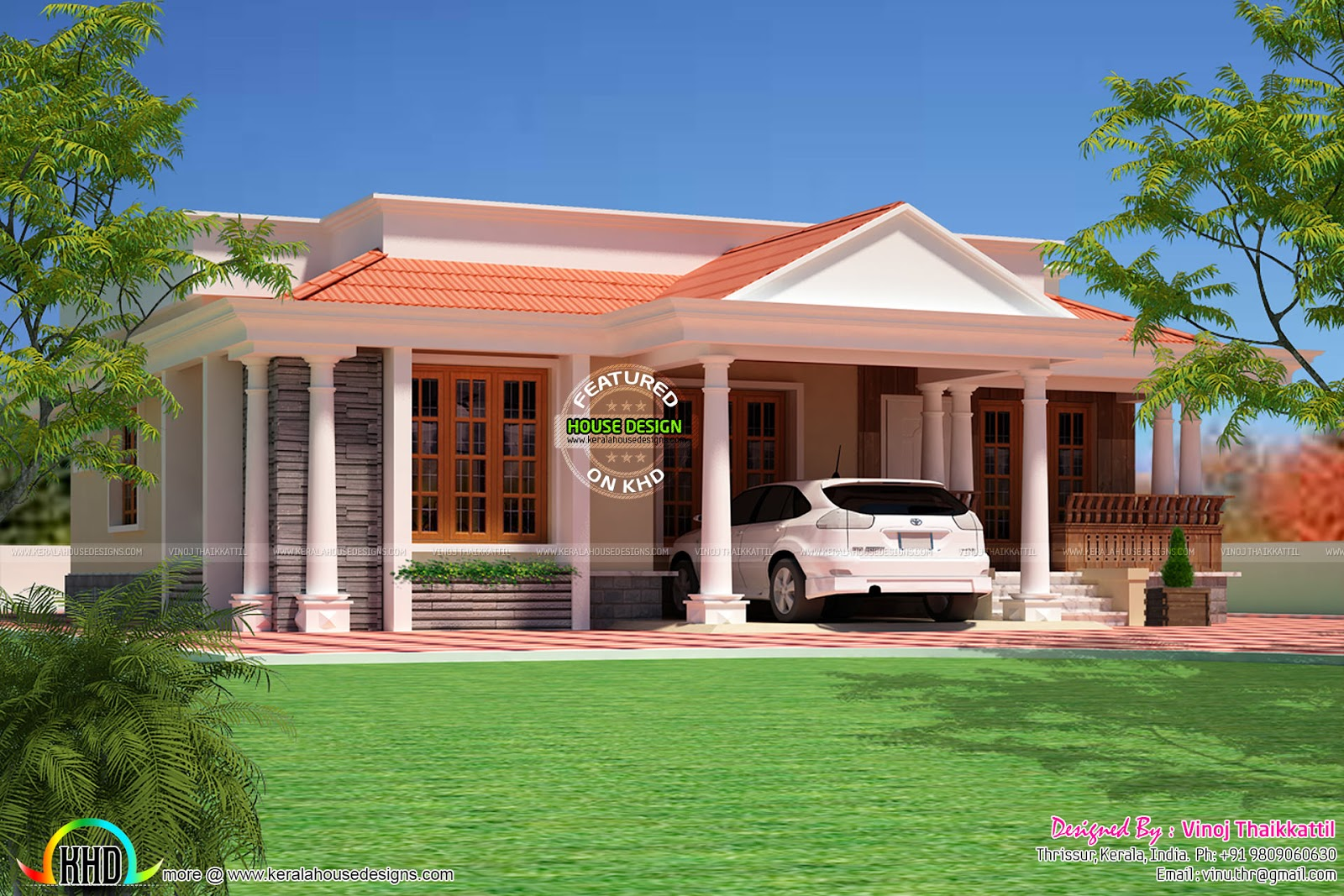 3 bed room home Kerala Traditional Design Kerala home design
