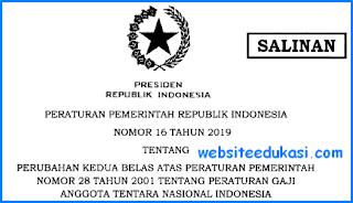 PP Nomor 16 Tahun 2019 Tentang Gaji Pokok TNI