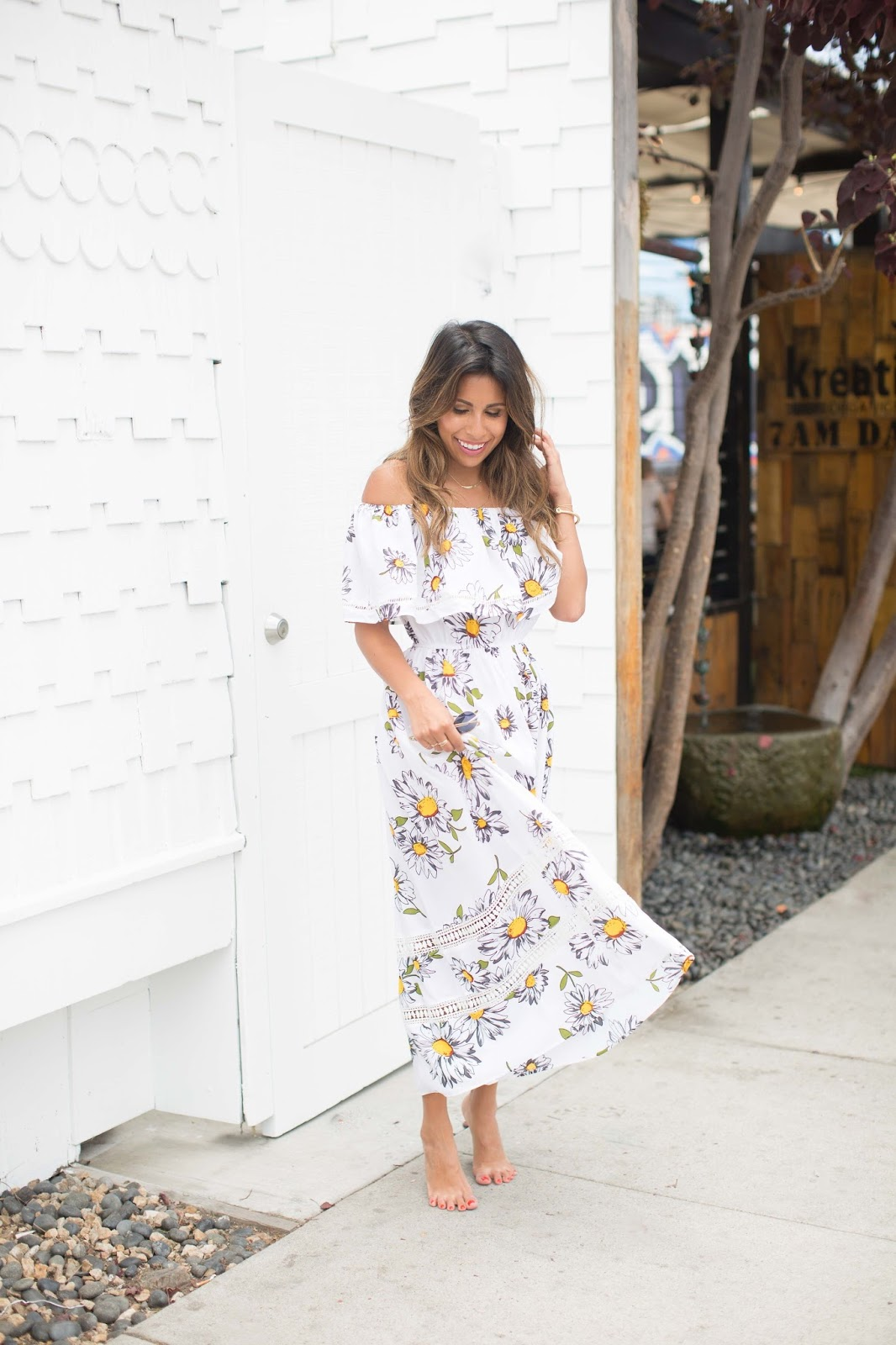 how to do off the shoulder dress, chicwish sunflower dress, pursuit of shoes summer outfit