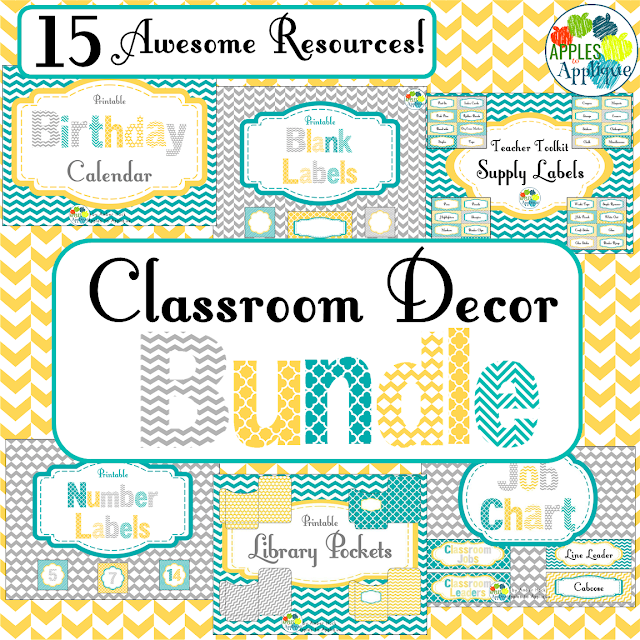 Classroom decor in a classy yellow, teal, and gray theme | Apples to Applique