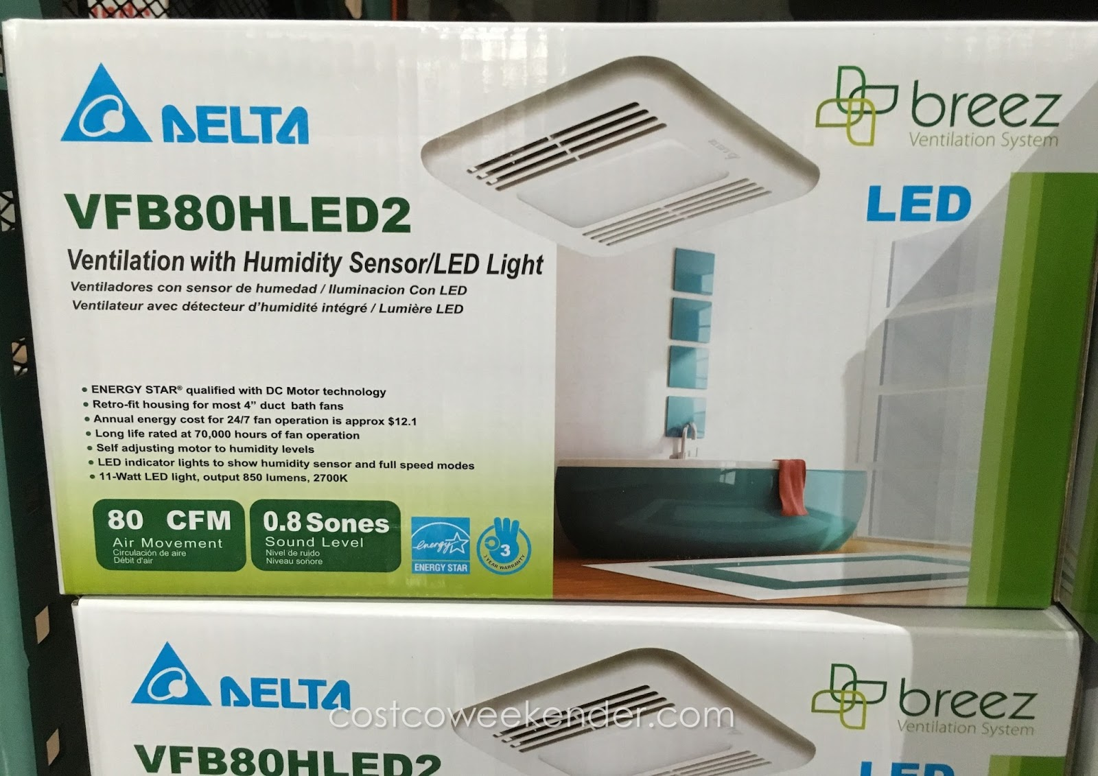 Delta Breez Ventilation System Bath Fan And Led Light