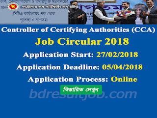 Controller of Certifying Authorities (CCA) Job Circular 2018