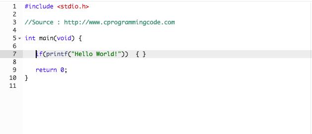 Program to Print Hello World without using semicolon