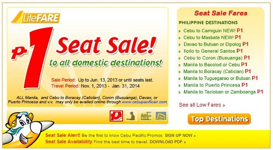 Cebu Pacific: P1 Promo Fare 2013, Seat Sale