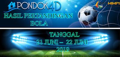 HASIL PERTANDINGAN BOLA TANGGAL 21 JUNI –  22 JUNI 2019