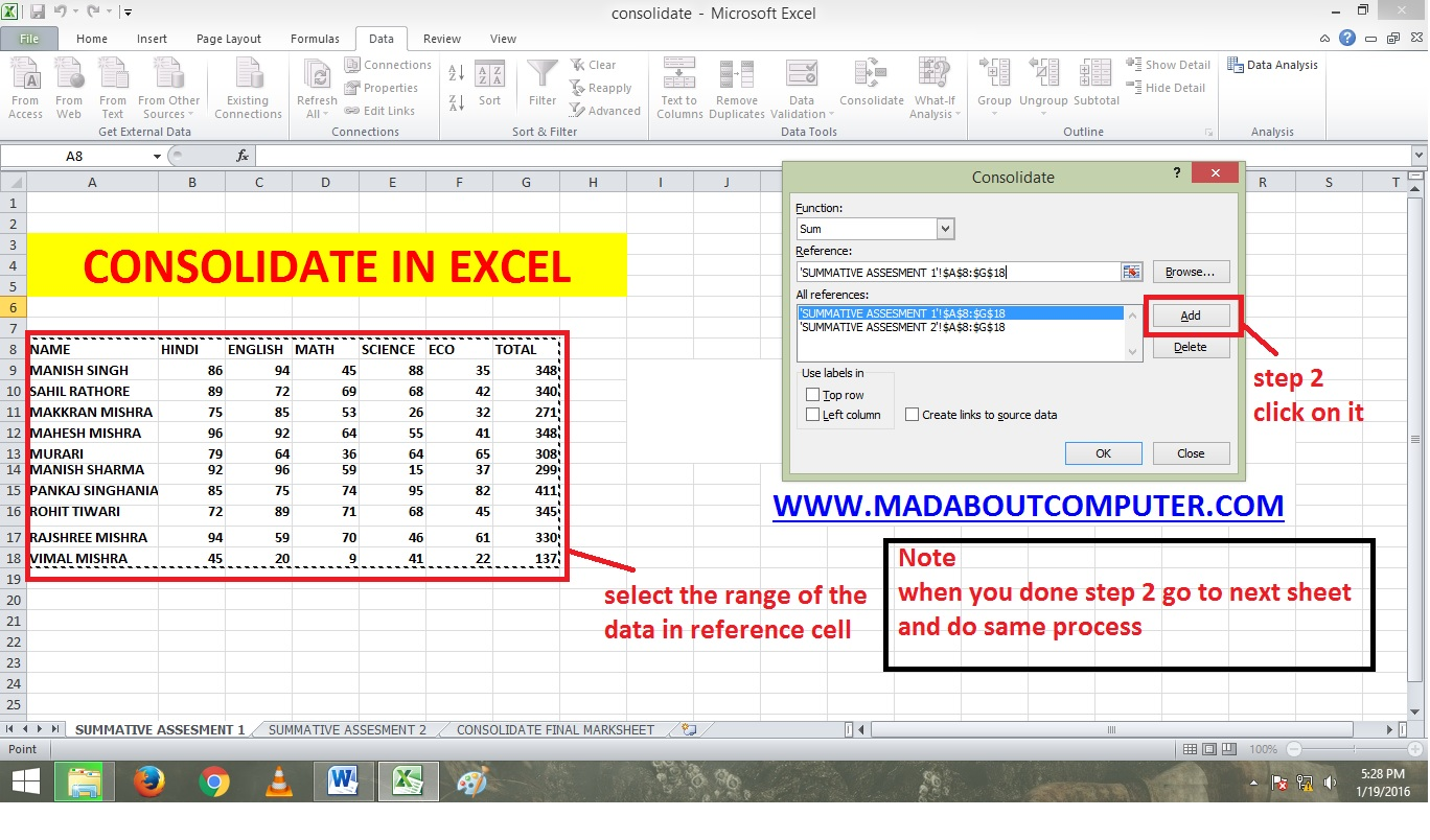 Consolidating Data In Excel Youtube Video