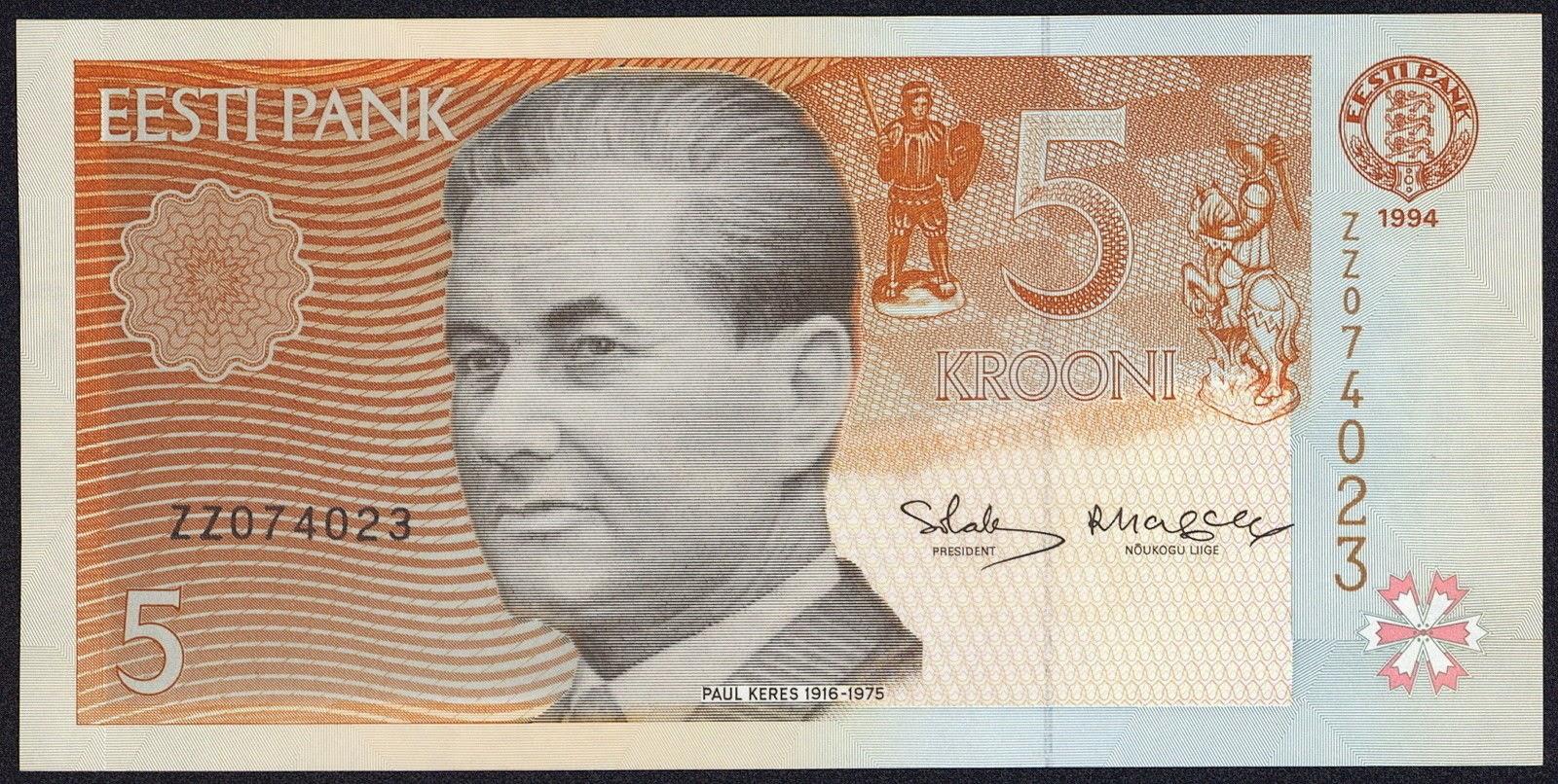Estonia currency money 5 krooni banknote, Paul Keres