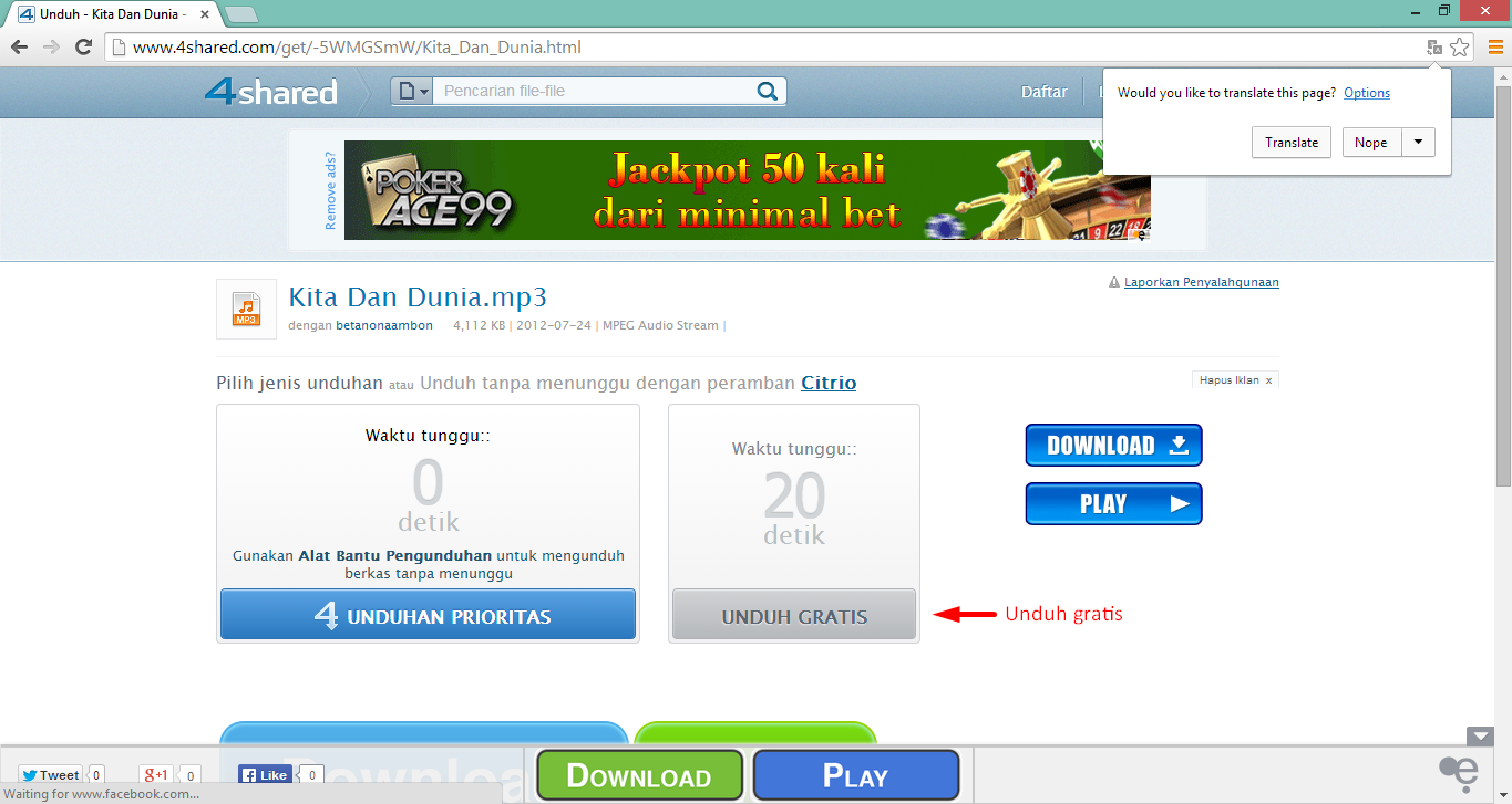 Cara Download File di 4shared.com 4