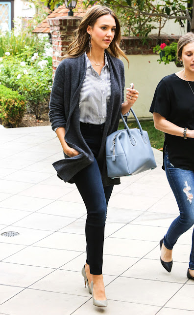 Jessica Alba in a cardigan, striped top, skinny jeans, and gray pumps - celebrity street style