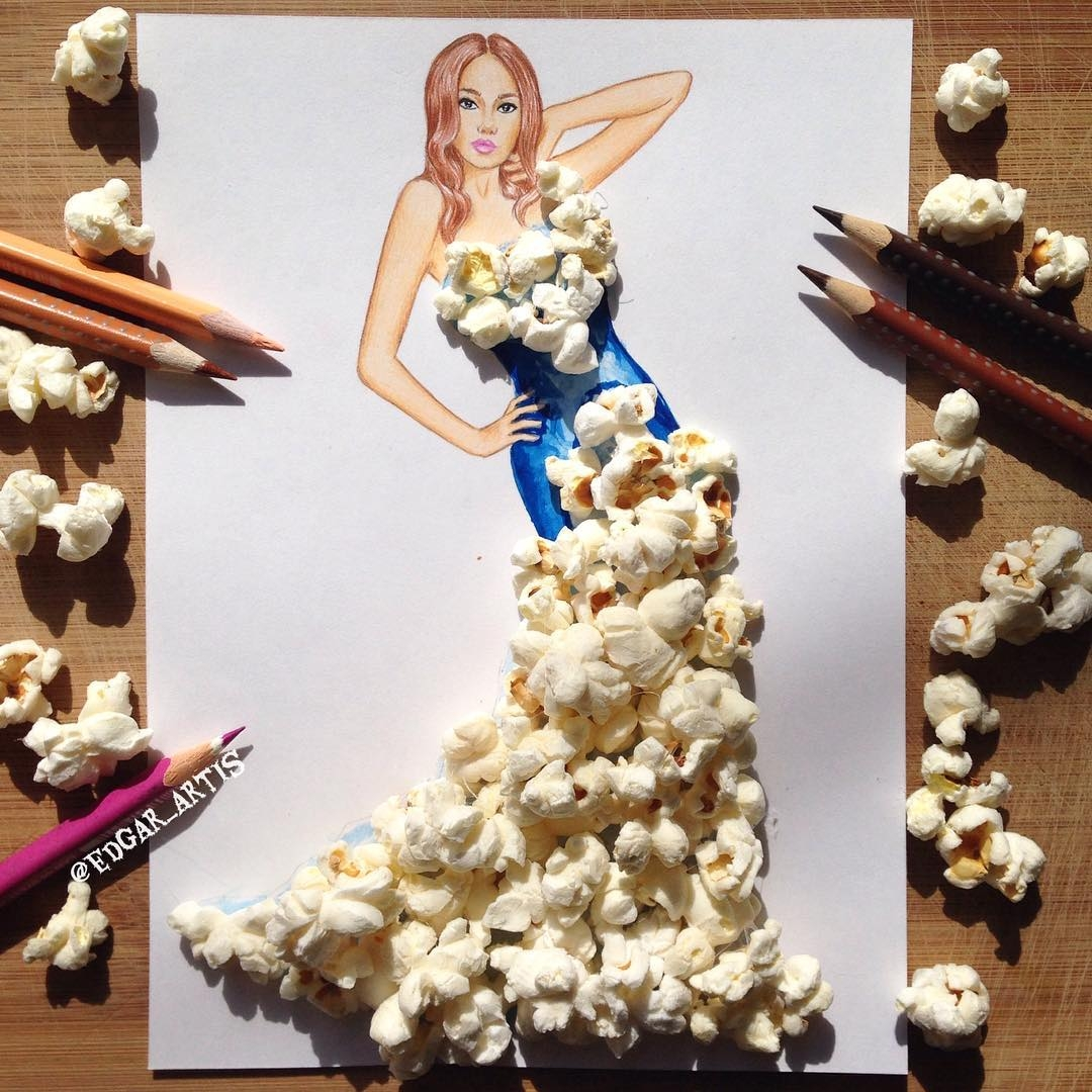 05-Popcorn-Edgar-Artis-Drink-Food-Art-Dresses-and-Gowns-Drawings-www-designstack-co
