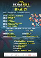 Horarios Benalfest 2018