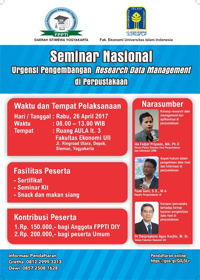 SEMINAR NASIONAL URGENSI PENGEMBANGAN RESEARCH DATA MANAGEMENT DI PERPUSTAKAAN