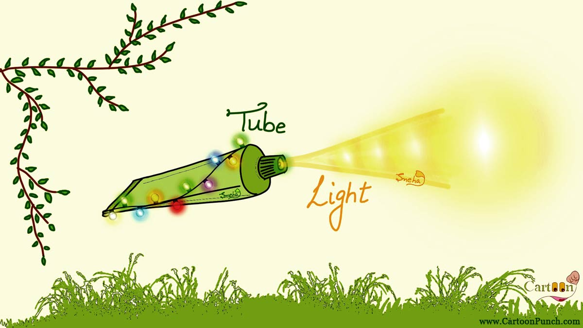 Tooth paste tube light torch: Tube Light cartoons by sneha