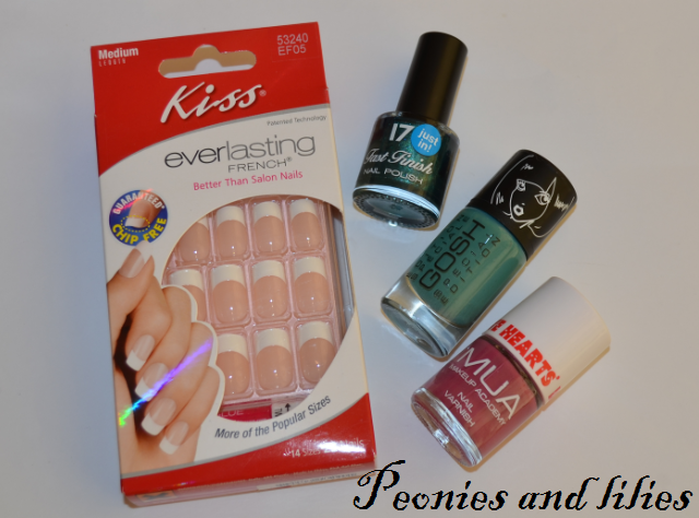 Kiss everlasting French manicure false nails set, 17 fast finish nail polish in sulk, Gosh nail lacquer in splish splash, MUA nail varnish in U R Fab, Christmas giveaway, Giveaway, Nail varnish, Kiss nails, 17 nail polish, Gosh nail lacquer, MUA nail varnish,