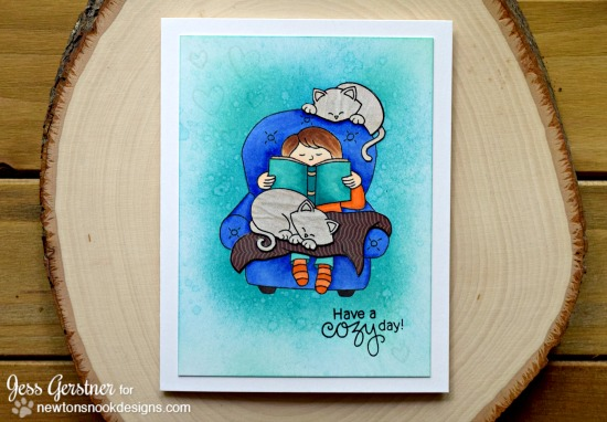 Cozy Day Reading with Cats Card by Jess Gerstner | A Cozy Day In Stamp set by Newton's Nook Designs #newtonsnook