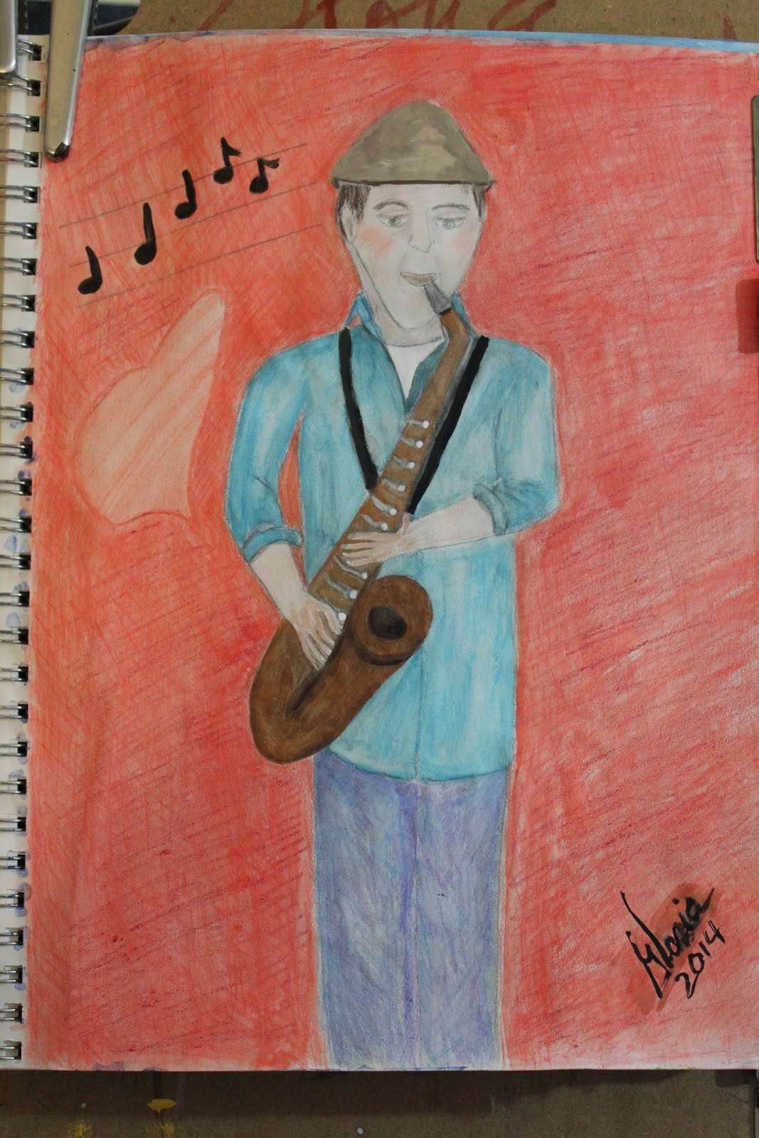 """Saxaphone sketch 3"" by Gloria Poole of Missouri; 17-March-2014"