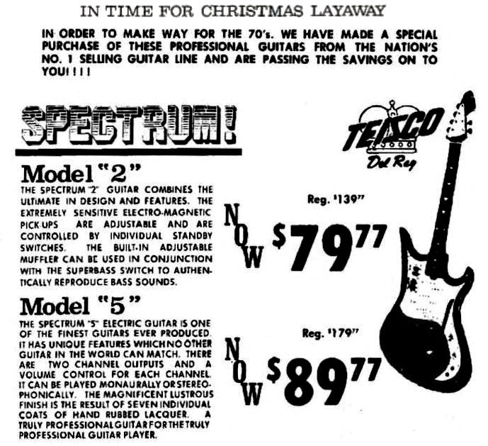 teisco guitars and check mate amplifiers in nc  1969