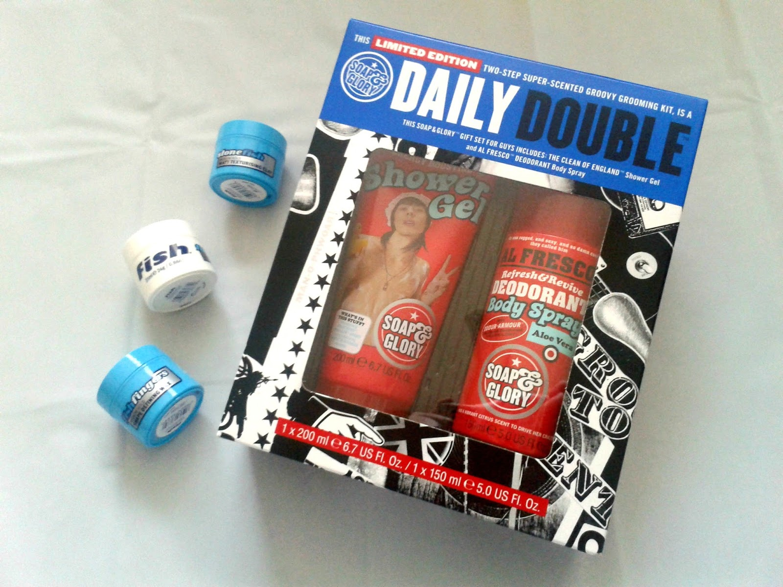 Soap & Glory DAILY DOUBLE™ Gift Set Fish Stonefish Matt Texturising Clay Fish Fishshape Texturising Cream Fish Fishfingers Shape Defining Wax