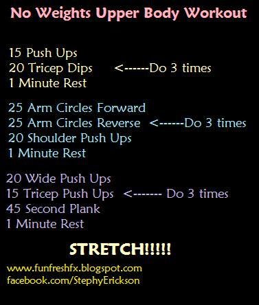 fun fresh fitness  no excuses no weights upper body