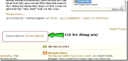 Gỡ bỏ dòng Subscribe to: Post (Atom) cho Blogger