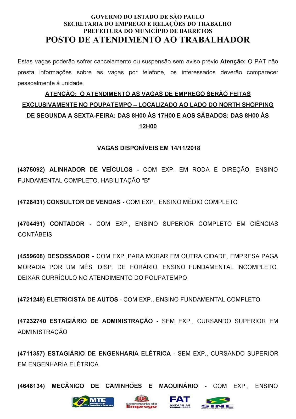 VAGAS DE EMPREGO DO PAT BARRETOS-SP PARA 14/11/2018 QUARTA-FEIRA - PARTE 1