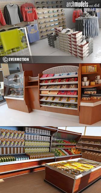 FREE 3D MODEL AND GRAFFICS: Evermotion Archmodels Vol 44 - Shelves
