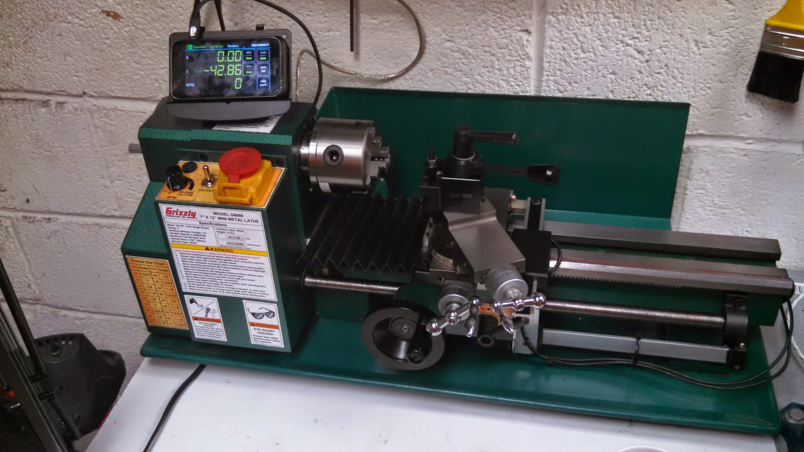 Benchtop machine shop lathe arduino touchdro